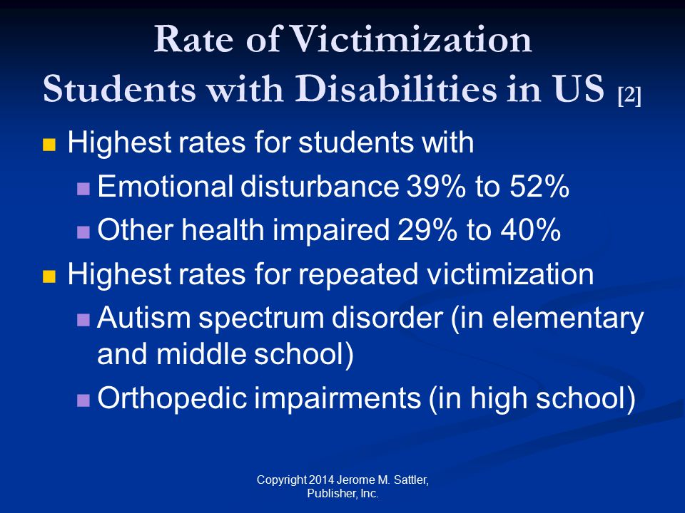 Rate of Victimization Students with Disabilities in US [2]